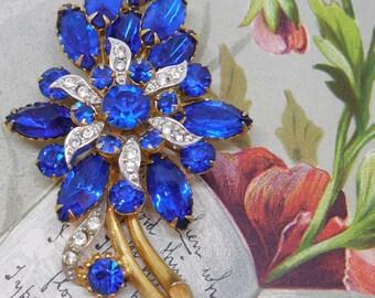 Vintage Cobalt Blue Flower Bouquet Rhinestone Brooch