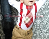 Christmas Plaid Baby Boy Outfit Tie and Suspenders Bodysuit. Cranberry Red  Green Tan. 1st Birthday Outfit Cake Smash, Holiday Set