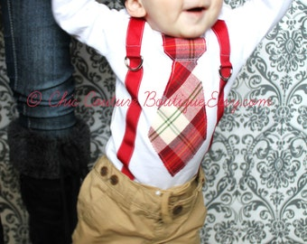 Baby Boy 1st Valentine's Day Outfit Tie and Suspenders Bodysuit. Cranberry Red  Green Tan. 1st Birthday Outfit Cake Smash, Wedding, Gift