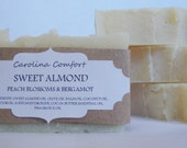 SWEET ALMOND bergamot and peach blossom whipped soap, vegan soap, cold processed soap