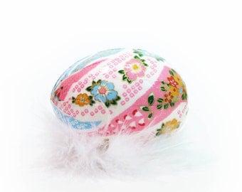 Washi Egg Decoration - Floral Waves Pink and Blue