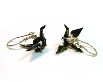 Peace Crane Earrings Sterling Silver Black with Pink and Red Flowers Origami Crane Earrings