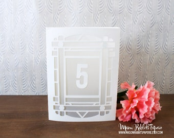 Art Deco / Art Nouveau Luminary Wedding Table Numbers. Wedding Table Markers, Luminaries, Wedding Decor
