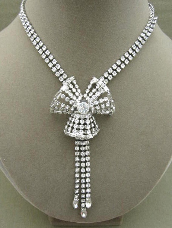 Rhinestone Statement Bridal or Formal Necklace