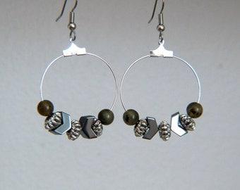 Labradorite Hoop Earrings - Chevron Earrings - Metallic Dangle Earrings - Modern Bohemian Earrings - Large Earrings - Geometric Earrings