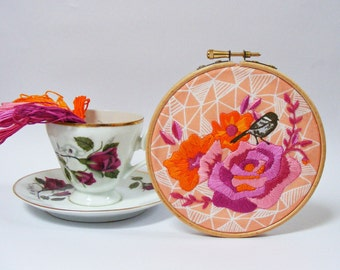 Embroidery Kit. DIY Embroidery Wall Art. Vintage rose,bird and geometric design. Modern embroidery kit. Embroidery hoop art. Gift for her