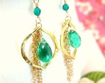 Emerald Green Quartz Vermeil Gold Leaf Chandelier Earrings, Wizard of Oz Emerald Green Chandelier Earrings, Lala Land emerald green earrings