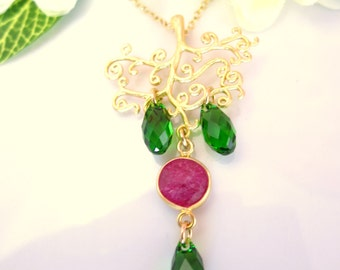 Christmas tree red ruby Swarovski green tear drop green necklace, Christmas tree pendant gold necklace, Christmas gift tree necklace