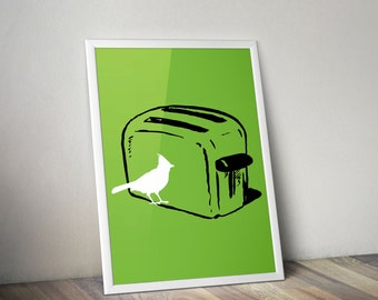 Art Print - Toaster with Bird - Kitchen Appliance Silhouette - 8x10 or Larger in Your Choice of Color