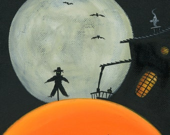 Hilly Haunted Scarecrow Giclée Archival Print - Paper or Canvas - Halloween Folk Art Haunted House Sihouette, Full Moon, bats -Various Sizes