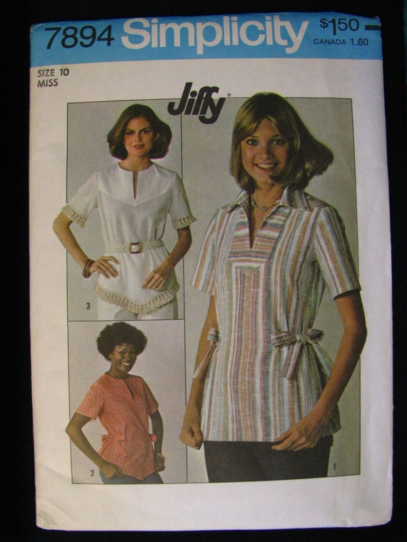 Vintage *NEW* Uncut Sewing Pattern Simplicity 7894 1970's Women's Blouse Top Shirt Size 10