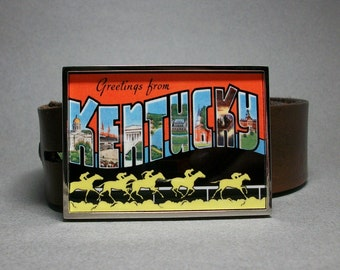 Belt Buckle Kentucky Vintage Greetings From Postcard Derby Horses Gift for Men or Women