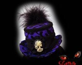 Purple Victorian Hat  Riding Hat  Top Hat with Gothic Skull Cameo in Iridescent Purple and Black  Made to Order