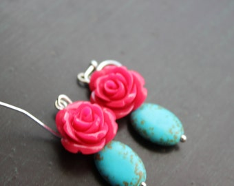 Turquoise and Hot Pink Rose earrings