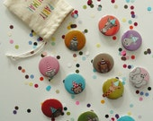 PARTY ANIMAL PINS - Peekaboo Party Animal Pin Back Buttons for Birthdays - Kids Loot Bag, Fun Little Treats