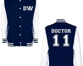 DW DOCTOR 11 Varsity Jacket - FREE Shipping - British Science Fiction (Sci Fi) Fan Geek Baseball Jacket