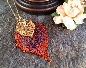 Aspen Leaf Necklace, Birch Leaf Necklace, Aspen and Birch Leaf Necklace, Bridesmaid Gift, Bridal Jewelry, Wedding Jewelry