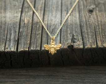 Tiny Gold-Dipped Bee Necklace - Rose Gold or Yellow Gold Plated Bee Charm. Gardener & Naturalist. Gift Ideas for Her, Friend, Bridesmaid