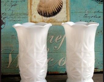 Milk Glass Vases / Vintage Milk Glass Vases by Hazel Atlas /My Milk Glass Wedding/ Beach House Decor