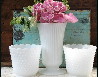Vintage Milk Glass Vase Wedding Collection / Milk Glass Hobnail / Wedding Celebration Centerpieces