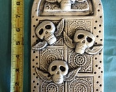 Day of the Dead Flying Skulls Ceramic High Relief Art Tile