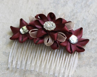 Burgundy Hair Accessory, Burgundy Hair Flower, Burgundy Flower Hair Comb, Champagne and Burgundy Wedding Flowers, Bridal Hair Accessories