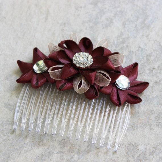 Burgundy Hair Accessory Burgundy Hair Flower Burgundy Flower