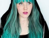 Green wig, Green hair, green scene wig, cosplay wig, teal wig, teal hair, dip dye wig, ombre wig, dip dye hair // Enchanting