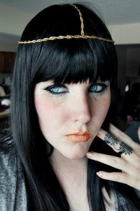 SALE Long black wig, Gothic Goth Emo wig, Halloween wig, cosplay wig // Egyptian Queen