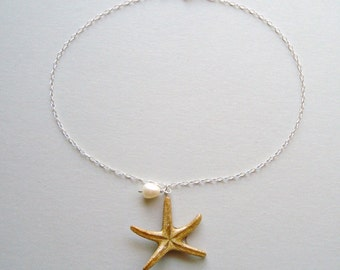 Starfish Charm Bracelet or Anklet, Real Starfish Bracelet, Starfish Anklet, Sea Star Anklet, Bridal Jewelry