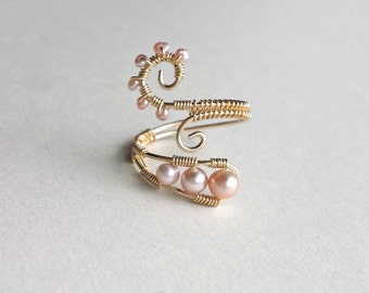Pink Pearl Wire Ring, Pink Gold Ring, Wire Wrapped Ring, Pink Freshwater Pearls, Adjustable Wire Weave Ring, Spiral Ring