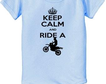 Keep Calm Shirt - Dirtbike Bodysuit - Keep Calm and ride a dirt bike Bodysuit baby infant  Bodysuit dirtbike dirt bike - Keep Calm Bodysuit