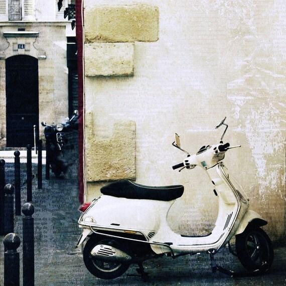 """Paris Photography, Fine Art Photography, Paris Street Scene, 5x5 Print, """"Paris Vespa"""""""