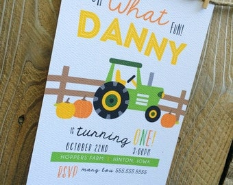 Pumpkin Farm, tractor invitation - printable, digital file