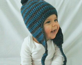 Baby Boy Hat, Ocean Blue and Gray, Newborn Hat, EarFlap, Pom Pom, Made to Order, 3-6 Months, 6-12 Months, Crochet Baby Boy Hat, Photo Prop