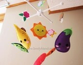 "Baby Crib Mobile - Baby Mobile - ""Veggie Friends"" Mobile (Pick your color) - Crib Mobile - Lovely Vegetables nursery room decor"