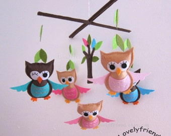 "Baby Mobile, Baby Crib Mobile, Mobile, Crib mobile, Felt baby Mobile, Felt crib mobile, owl baby mobile, ""pink and blue owls design"""