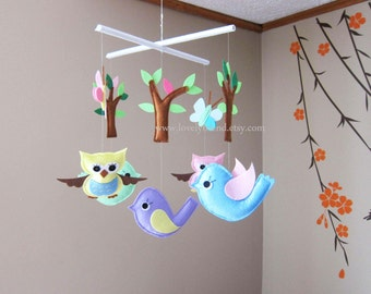 Hiding in the Forest Mobile - Baby Mobile - Nursery Crib mobile - Leaves and trees mobile  (Choose Your Felt Color)