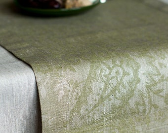 Damask Table Runner With Borders Olive Green / Natural Gray Linen