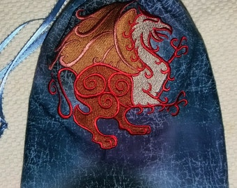 Lined Drawstring Bag with Embroidered Gryphon