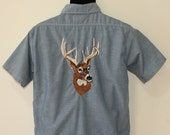 Paul Bunyan label vintage chambray shirt Embroidered Deer Buck size 15.5 M