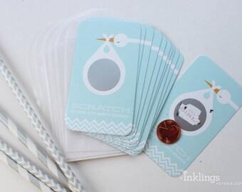 SALE! 12 Baby Gender Reveal Scratch-off Cards // Blue Stork