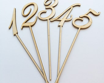 Numbers 1-5 - Laser Cut Wooden Table Numbers