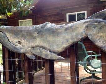 "Gray Whale 39"" chainsaw wood whale carving realistic sculpture nautical home accent saltwater ocean decor wall mount coastal living art"