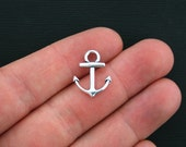BULK 50 Anchor Charms Antique Silver Tone 2 Sided - SC715
