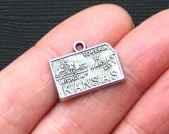 8 Kansas State Charms Antique  Silver Tone - SC2931