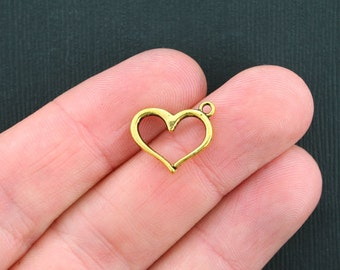 BULK 50 Heart Charms Antique Gold Tone Simple Elegance - GC274