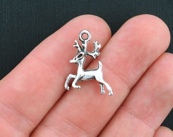 BULK 30 Reindeer Charms Antique Silver Tone 2 Sided 3D - SC1370