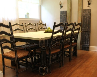 Distressed farm style dining room table set for Dining room tables etsy