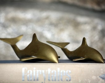 Vintage Pair of Solid Brass Dolphins